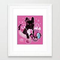 frenchie Framed Art Prints featuring Frenchie by Miss Cherry Martini