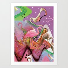 FLAMINGO ACID TRIP  Art Print