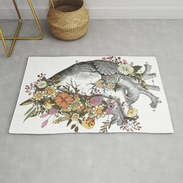 Heart With Flowers Rug