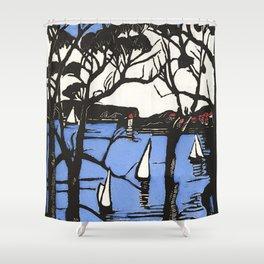 """Harbour Foreshore"" by Margaret Preston Shower Curtain"