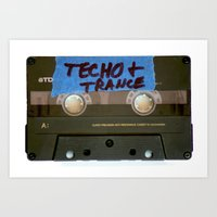 techno Art Prints featuring TECHNO by The Family Art Project