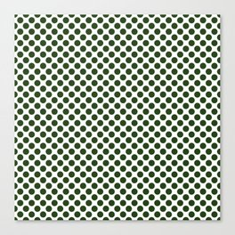 Large Dark Forest Green Polka Dot Spots on White Canvas Print