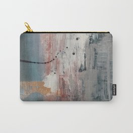 S'il Vous Plait: an abstract mixed-media piece in blue, gray, and gold by Alyssa Hamilton Art Carry-All Pouch