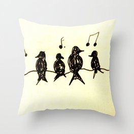 Birds on a Wire Ink Doodle Throw Pillow