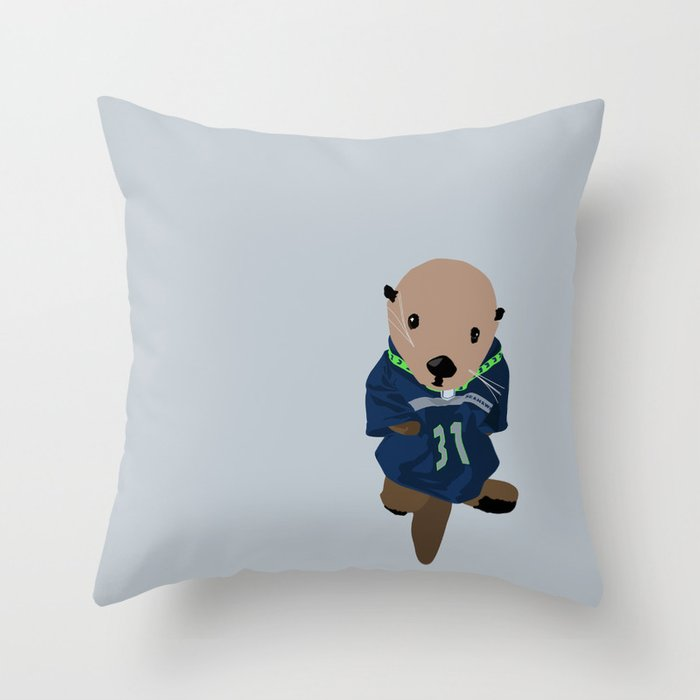 The Littlest Seahawks Fan Throw Pillow