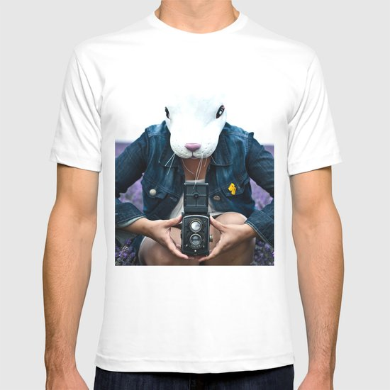 Bunny in a lavender field. T-shirt