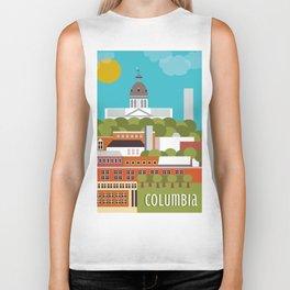 Columbia, South Carolina - Skyline Illustration by Loose Petals Biker Tank