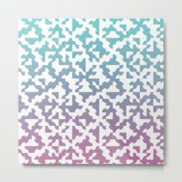 Drunken Path Pattern - Teal and Pink Metal Print