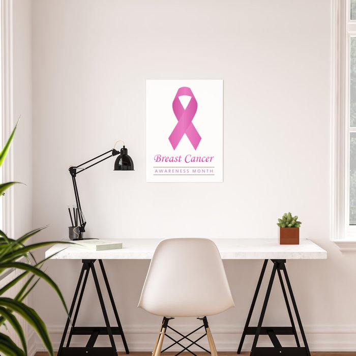Breast cancer awareness pink ribbon- graphic to support women suffering from breast cancer Poster