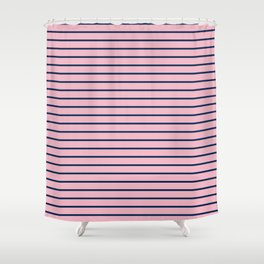 Pink and Navy Blue Horizontal Stripes Shower Curtain