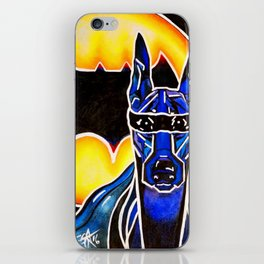 Dobie Bat man Original Design Painting Dog Pet Doberman Pinscher Superhero Hero Super Black Yellow iPhone Skin