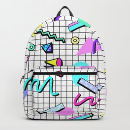 80s Retro Party Grid Design (White BG) Backpack