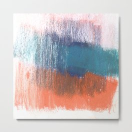 Blue and Orange Abstract Metal Print