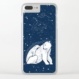 Polar Bear and Constellation Arctic Night Sky Stars Clear iPhone Case