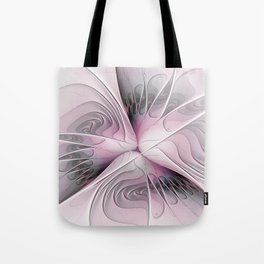 Fantasy Flower, Pink And Gray Fractal Art Tote Bag