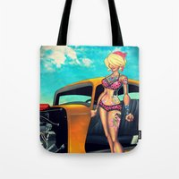 rockabilly Tote Bags featuring Rockabilly babe by Quetzal Revolver
