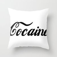 cocaine Throw Pillows featuring Cocaine by Jeef