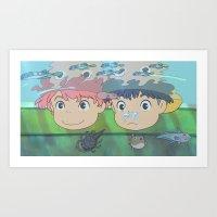 ponyo Art Prints featuring Ponyo by Susan Lewis