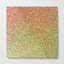Red Gold Sparkles Metal Print