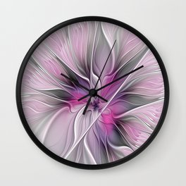 A Blooming Dream, Abstract Fractal Art Wall Clock