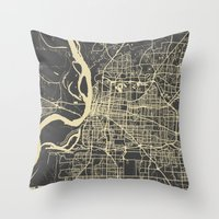 memphis Throw Pillows featuring Memphis map by Map Map Maps