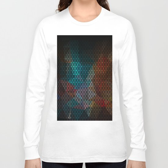 Abstract background of triangles polygon print. Bright dark design colors Long Sleeve T-shirt