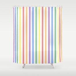 Solid Rainbow Mattress Ticking Wide Stripes Pattern Shower Curtain