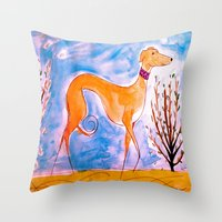 greyhound Throw Pillows featuring Greyhound by Caballos of Colour
