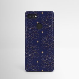 Abstract Faux Gold Circles and Stars Pattern Indigo Blue Android Case