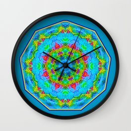 Red Flower Blue Mandala Wall Clock