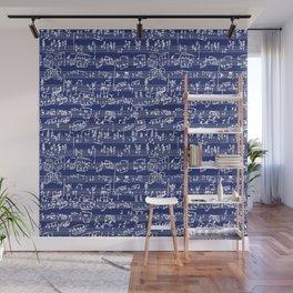 Hand Written Sheet Music // Midnight Blue Wall Mural