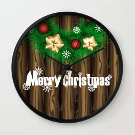 Christmas illustration with wreath on wooden background Wall Clock
