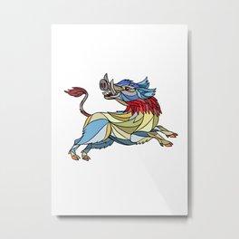 Wild Boar Razorback Prancing Mosaic Metal Print