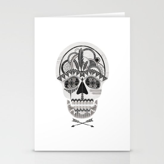 AZTEC SKULL B/W  Stationery Cards