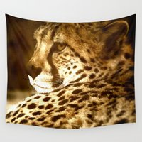 cheetah Wall Tapestries featuring Cheetah by Tea and Roses