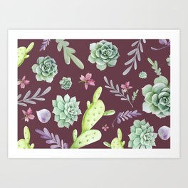 Cactus Watercolor Pattern 11 Art Print
