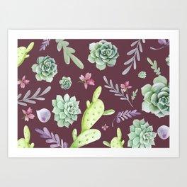Cactus Watercolor Pattern 11 Art Print