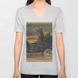 Don Quixote & Sancho Panza Theater Poster Unisex V-Neck