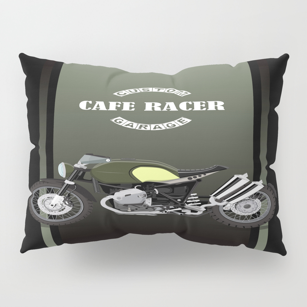 Vintage Motorcycle Poster Vector Illustration Pillow Sham by Milatoo PSH7397830