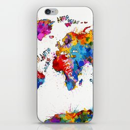 world map color splatter 1 iPhone Skin