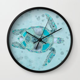 Glamour Aqua Turquoise Turtle Underwater Scenery Wall Clock