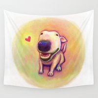 terrier Wall Tapestries featuring bull terrier by Kappacha