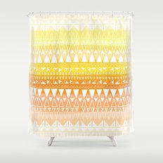 Triangle Gradient Gold Mix Shower Curtain