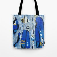talking heads Tote Bags featuring Talking Heads by Randall Sokoloff