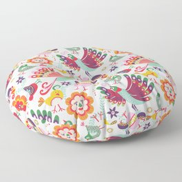 scandinavian folkart birdies | white Floor Pillow