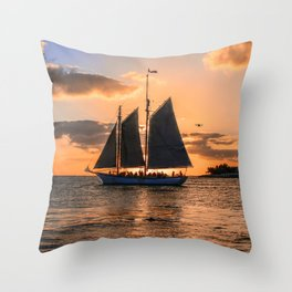 Sunset Sail and Plane Throw Pillow