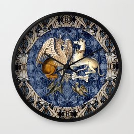 Tudor Pattern Book Gryphon and Greyhound Wall Clock