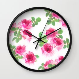 Raspberry Pink Painted Roses on White Wall Clock