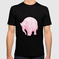 Pink Elephant LARGE Mens Fitted Tee Black