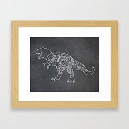 Tyrannosaurus, Rex Dinosaur (A.K.A. T REX) Butcher Meat Diagram Framed Art Print